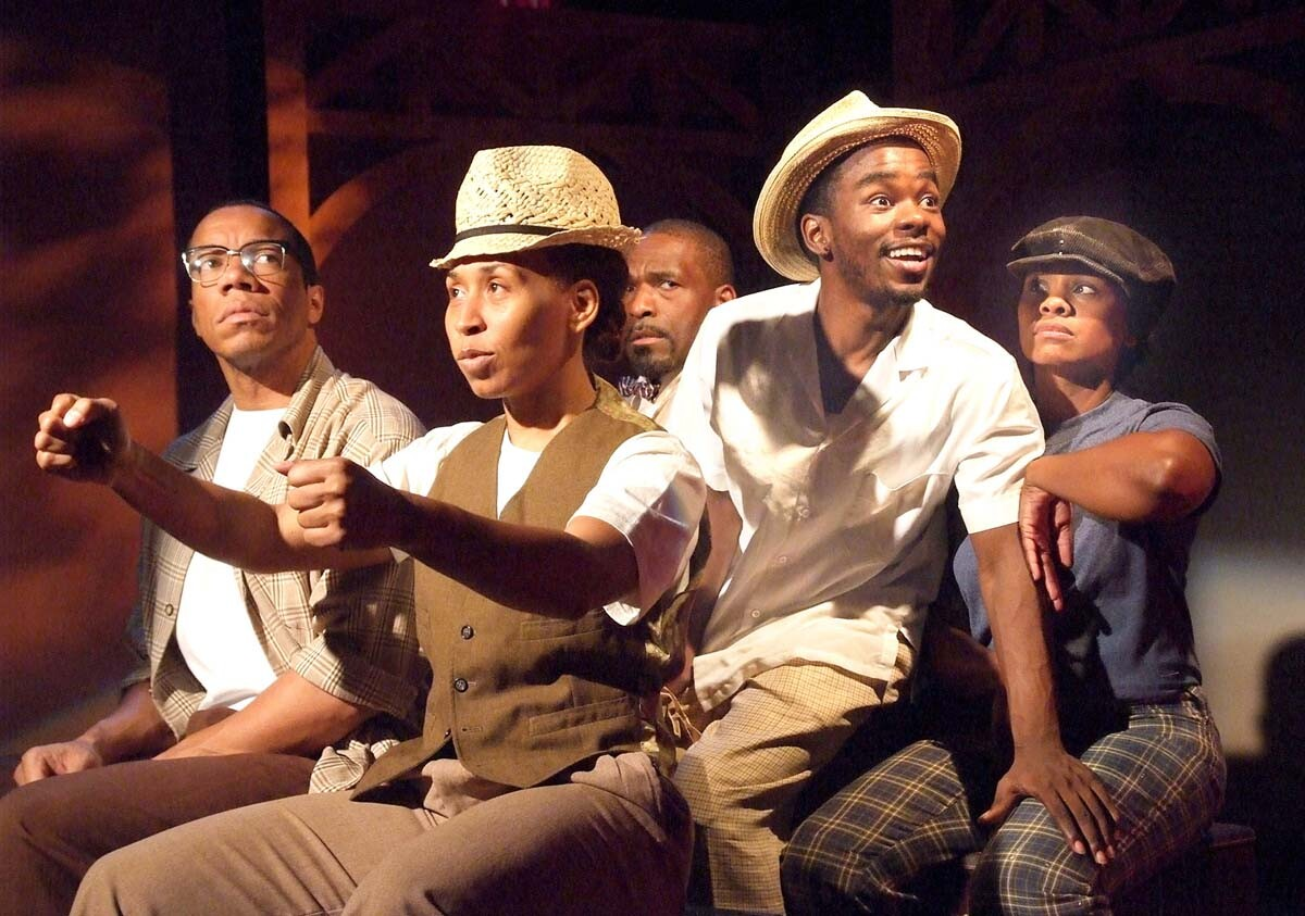 "Rico E. Anderson, Adenrele Ojo, Bernard K. Addison, Lorenz Arnell, and Karen Malina White in the original production of ""The Ballad of Emmett Till."" 