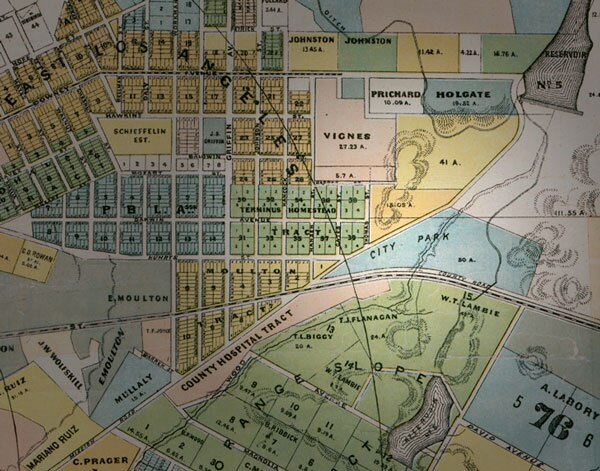 The future site of Eastlake Park appears on this 1884 map in blue, labeled 'City Park.' It would be several years before the city began to improve the park. Courtesy of the Map Collection, Los Angeles Public Library.