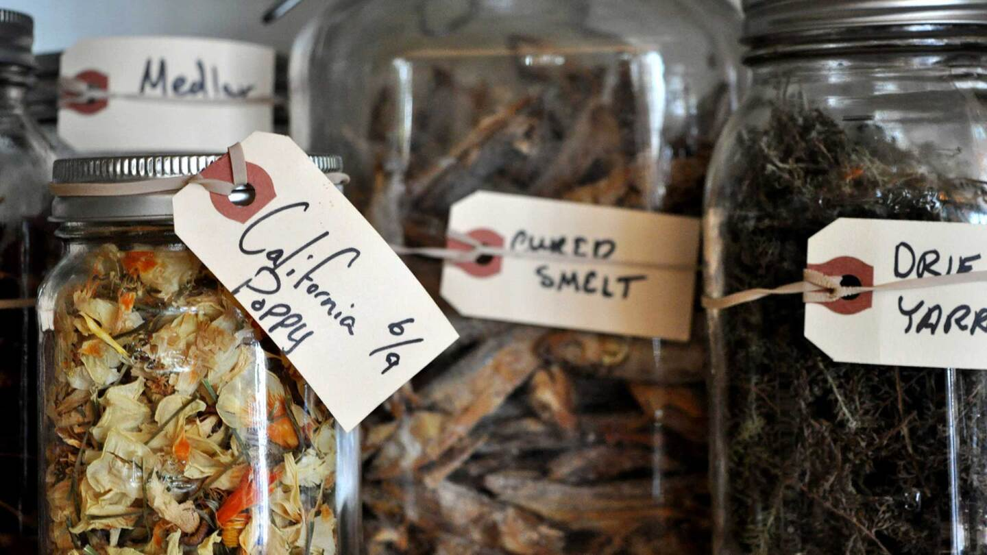 Jars of local species used for Willows Inn dishes. | Courtesy of Barron Bixler