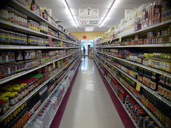 An aisle full of Asian sauces and spices at Hong Kong Market in the San Gabriel Valley.
