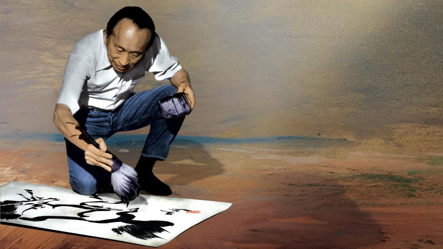 "Tyrus Wong crouches down on the floor as he paints. | ""Tyrus Wong: American Masters"""