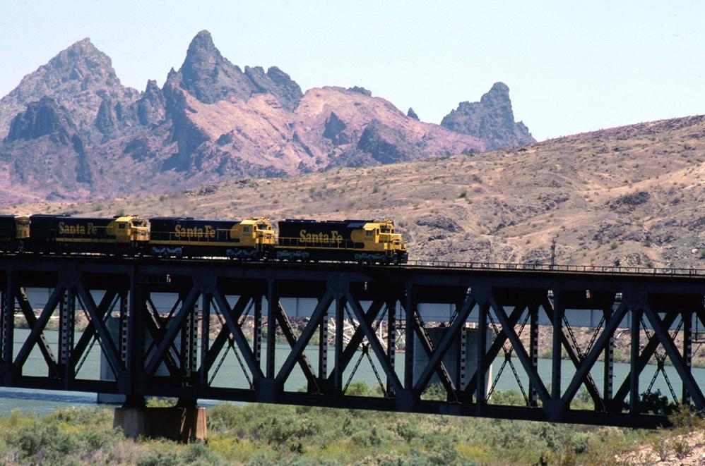 The Santa Fe freight train finally arrives at the Colorado River. | Shirley Burman