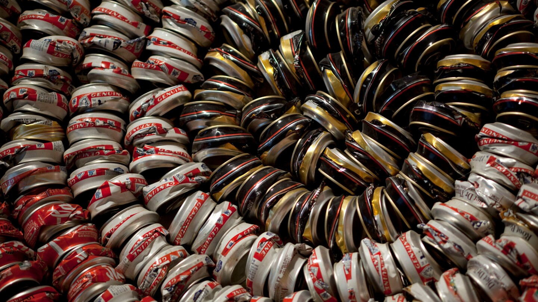 "Detail of ""Continuum Basket,"" by Gerald Clarke Jr. (Cahuilla). Metal (aluminum cans). 2002."