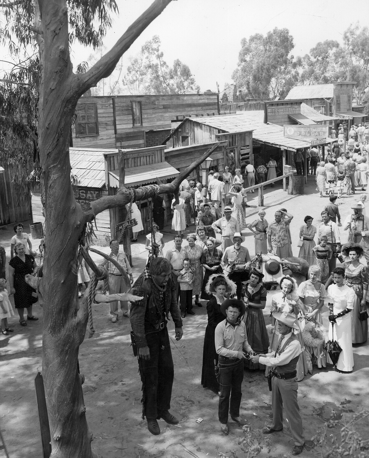 A circa 1950s reenactment of a frontier hanging at Knott's Berry Farm in Buena Park