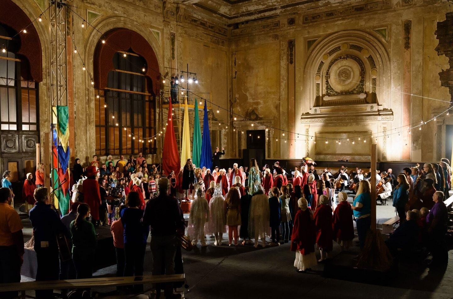 "The cast and crew of the opera ""Vireo"" gather at the historic 16th Street Station in Oakland."