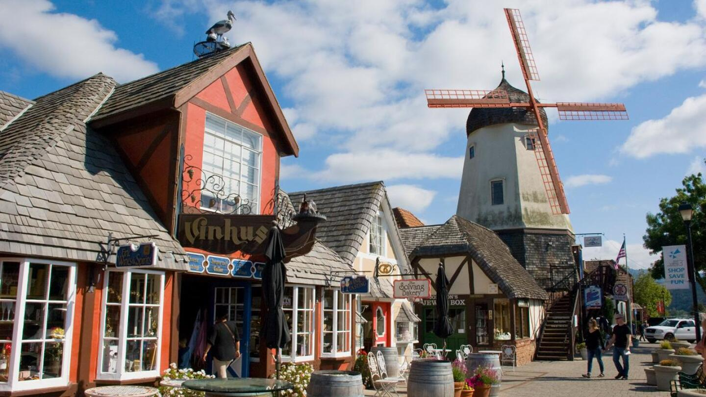 Shops and a windmill at Solvang, CA.