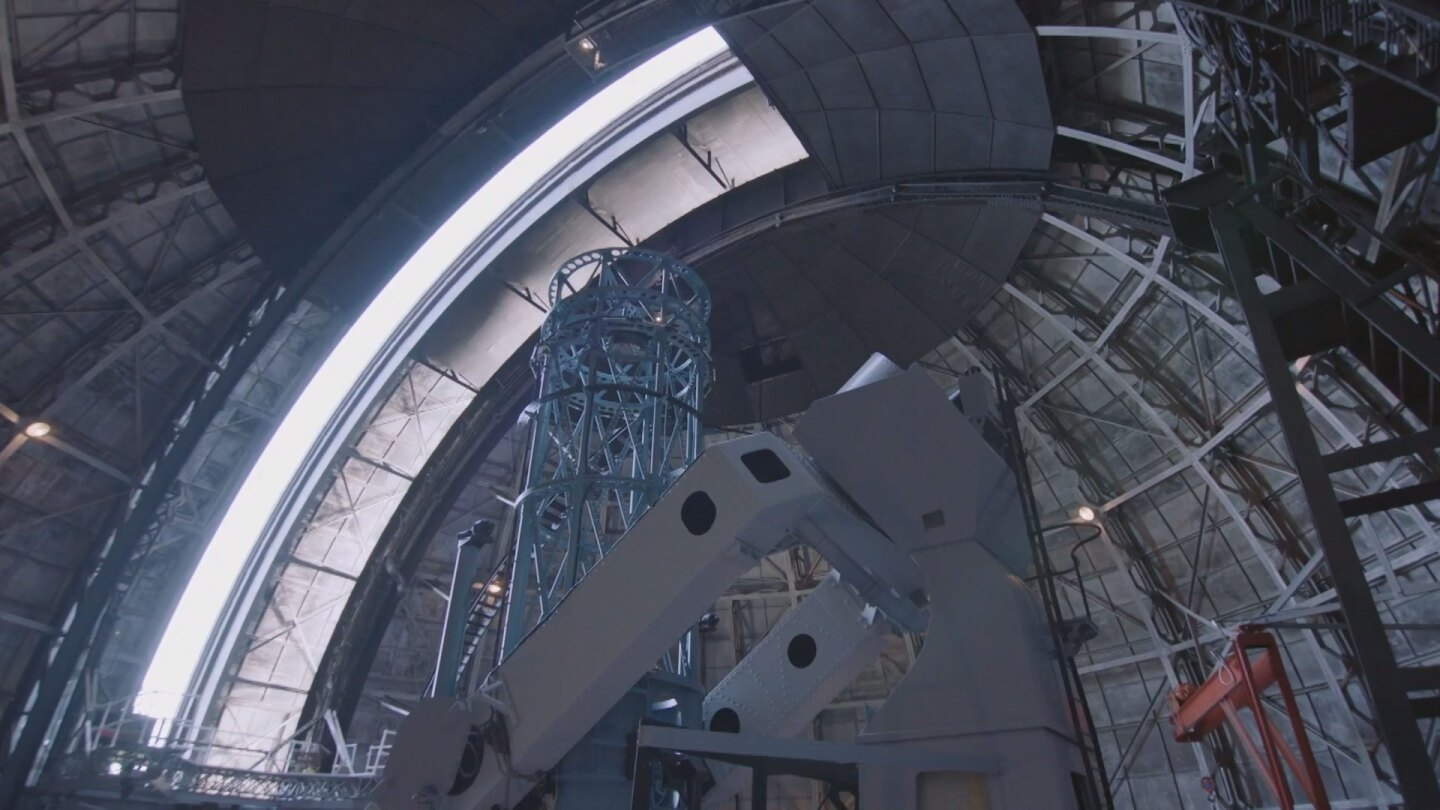 "Internal view of the Hooker Telescope. | Still from ""Lost LA"""