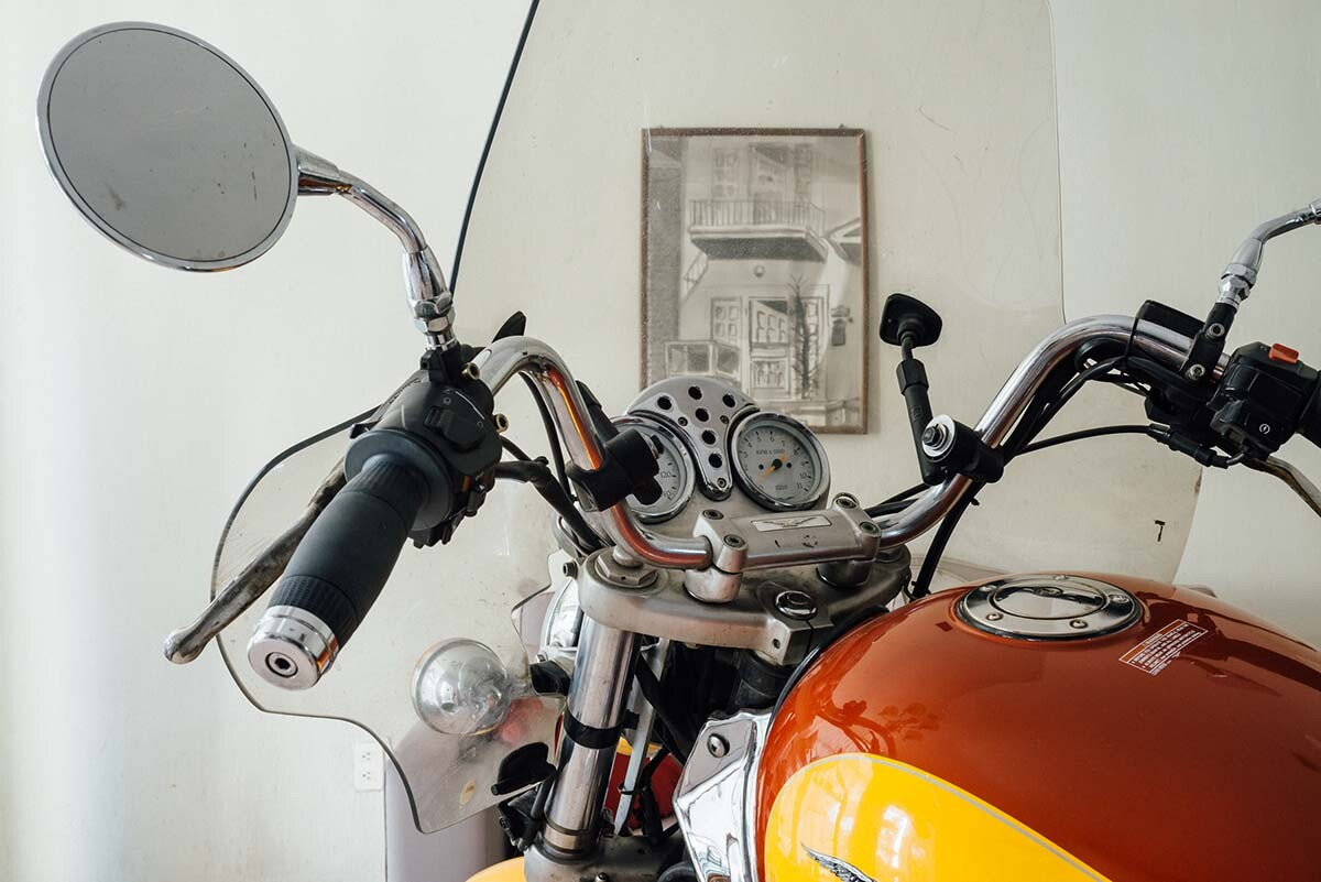 "Carmen Argote, ""If it were only that easy...,"" 2018. Moto Guzzi V11 motorcycle in Guadalajara, in the artist's father's house 