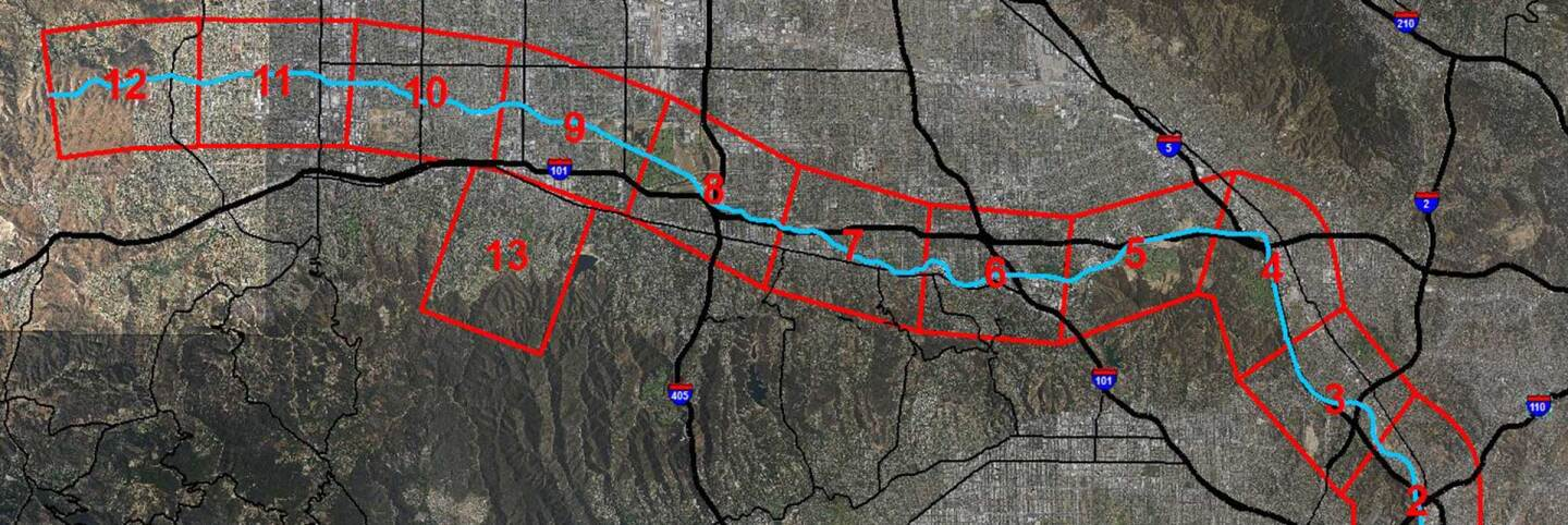 Map of zones along L.A. River where wildlife cameras are being installed. | National Park Service