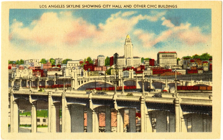 Postcard of the Los Angeles skyline circa 1940