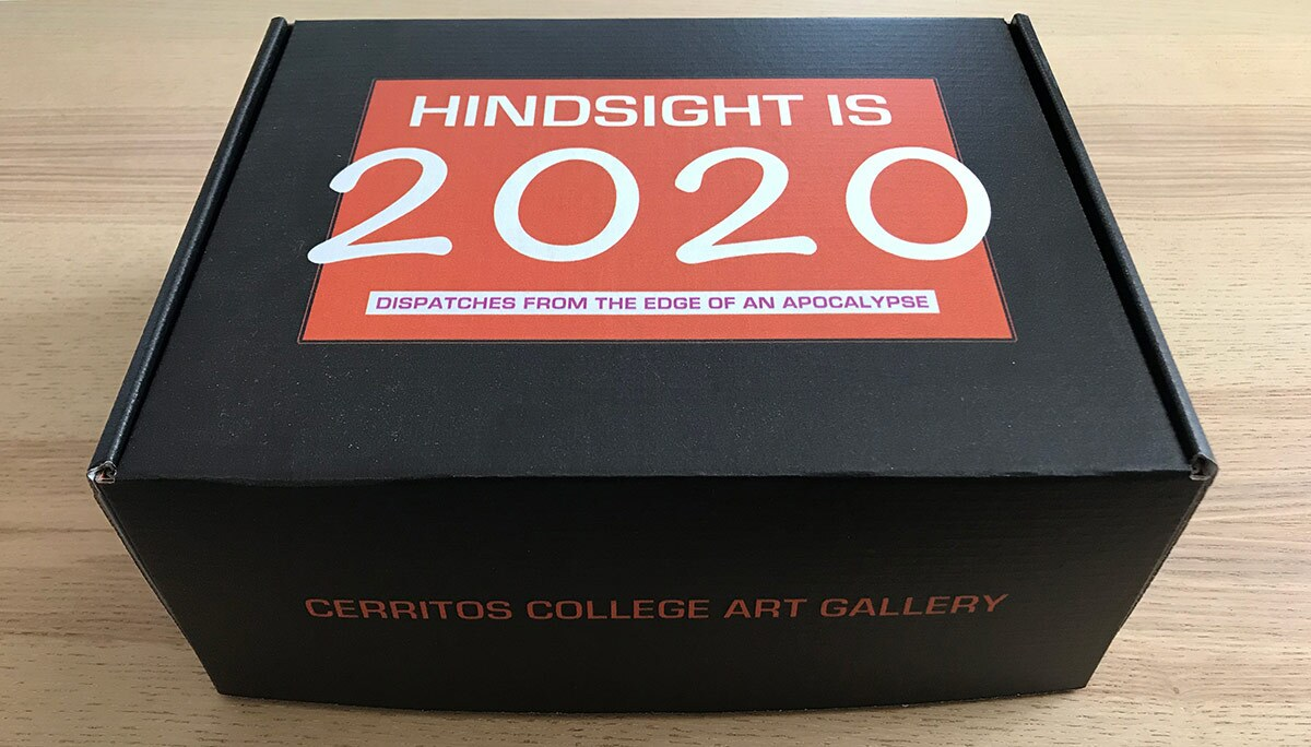 """Exterior of """"Hindsight Is 2020: Dispatches from the Edge of an Apocalypse,"""" exhibition-in-a-box. 