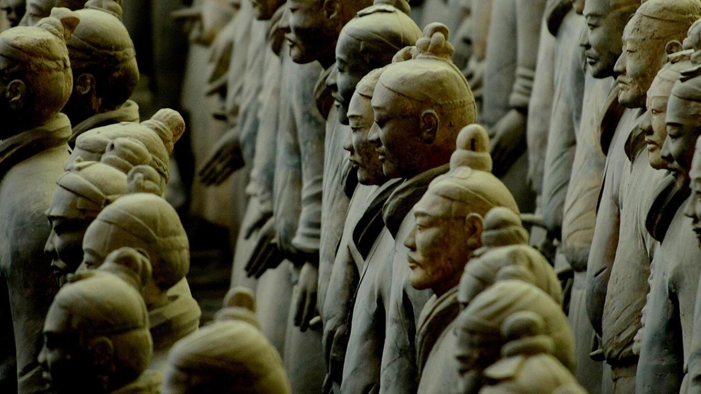 "An underground mausoleum conceals a life-size terracotta army of cavalry, infantry, horses, chariots, weapons, administrators, acrobats and musicians, built to serve China's first emperor Qin Shi Huang Di in the afterlife. | ""Nova: Emperor's Ghost Army"""