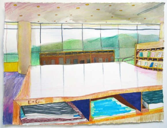 """Getty Research Institute Library (Ecstasy)"" by Katie Herzog. 14"" x 10.5"" ink, colored pencil, on paper, 2012."