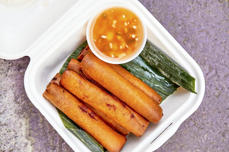Longganisa lumpia, a deep-fried eggroll, from Mano Po.