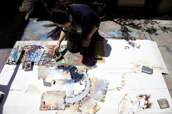 Gajin Fujita, preparing for his 2011 exhibition at LA Louver