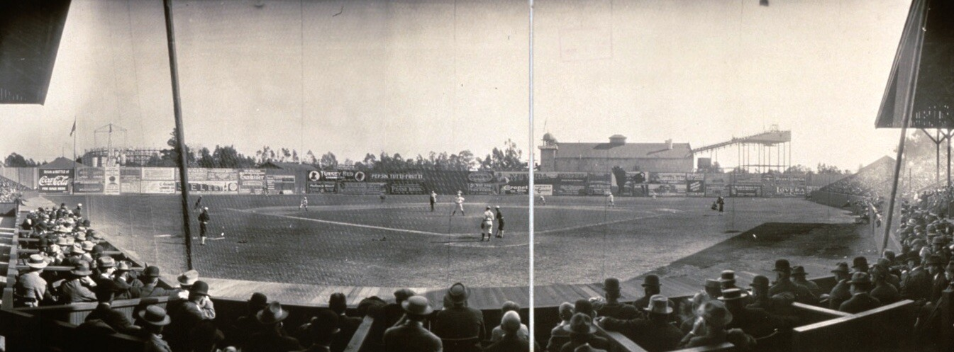An old, black and white photo offers a wide view of Chutes Park from behind the home plate.