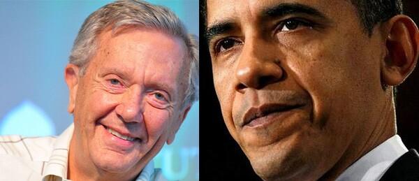 Bruce Babbit, left, and Barack Obama, right