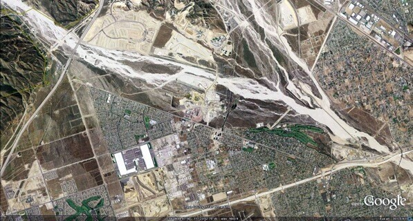 April 12th, 2007: The confluence of Lytle (left) and Cajon (right) creeks in San Bernardino