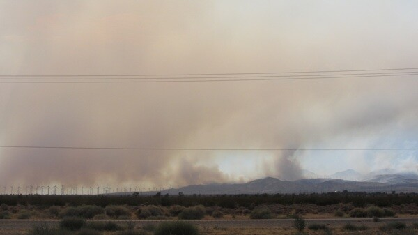 The Canyon Fire seen from the 14 Freeway on Monday   Photo by Zach Behrens/KCET