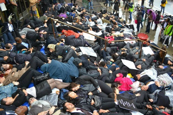Lawyers perform a die-in on the steps of the Stanley Mosk Courthouse in downtown Los Angeles. | Photo: Courtesy Josh Kamensky
