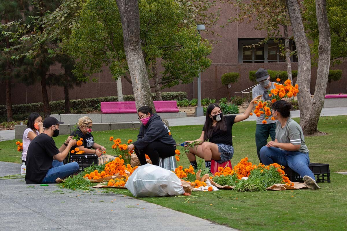 People working on paper flowers for ofrendas at Grand Park for Día de los Muertos in 2020 | Rafael Cardenas