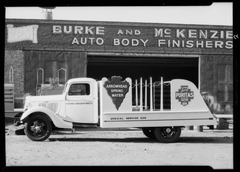 Arrowhead water truck, Southern California, 1935