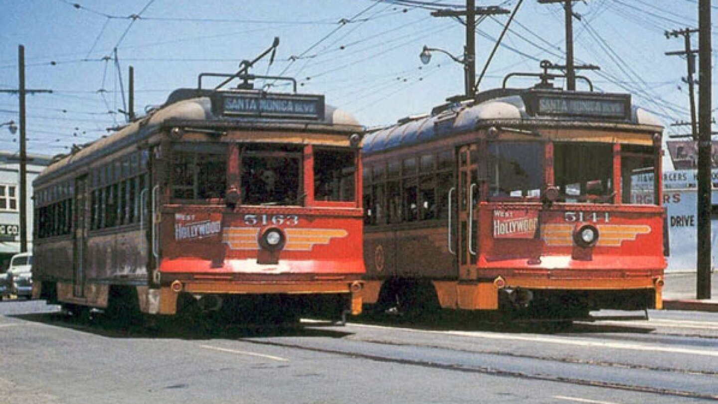 Two streetcars pass at Sunset Junction, circa 1952. Courtesy of the Metro Transportation Library.