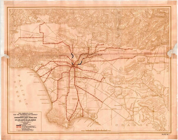 The 1925 proposal envisioned L.A.'s rapid-transit system growing along with the city. Courtesy of the Metro Transportation Library and Archive.