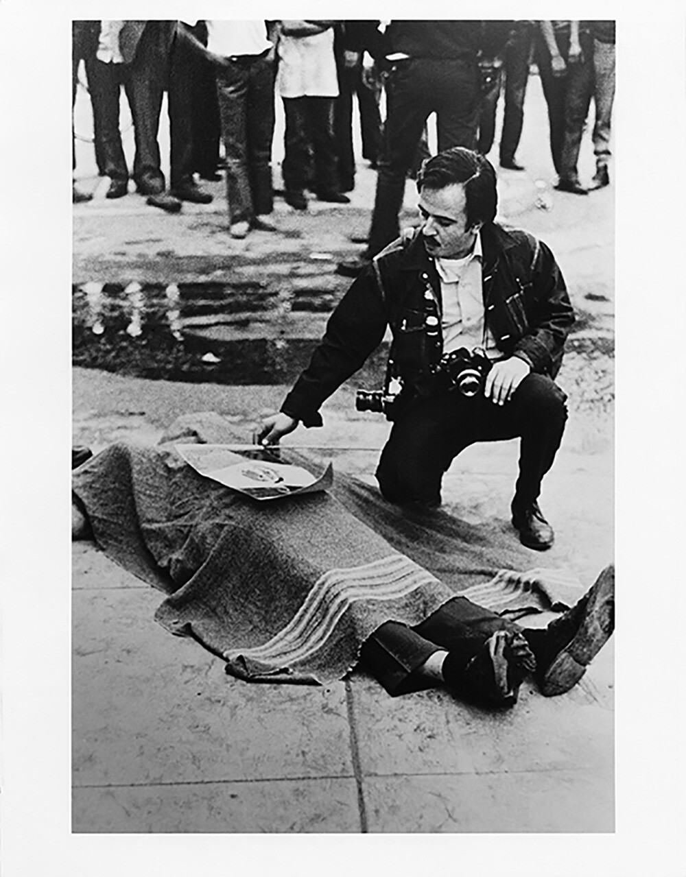 Raul Ruiz with Gustav Montag, a bystander who was struck by ricochet ammunition during a protest on Jan 31 1971. | Courtesy of Luis C. Garza.