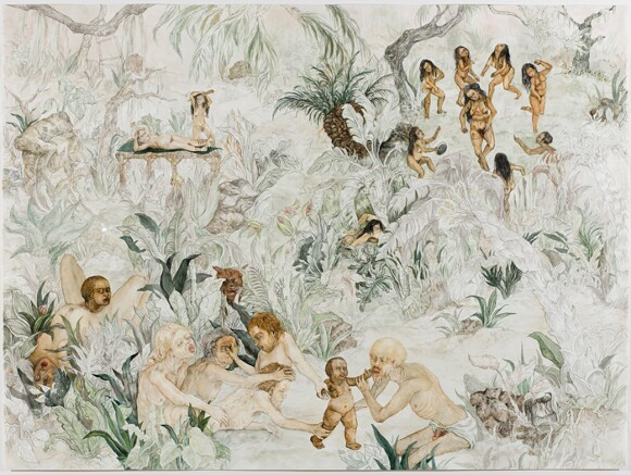 """Candice Lin, """"Birth of a Nation,"""" 2008, watercolor and ink on paper, 42 ¼ x  55 1/8  x 2 in."""