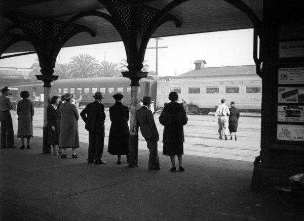 Passengers wait for a train at the Santa Fe's La Grande Station, circa 1937. Courtesy of the Herman J. Schultheis Collection, Los Angeles Public Library.