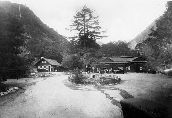 Exterior view of hotel buildings showing a lobby annex at Camp Baldy, ca. 1930 | Digitally reproduced by the USC Digital Library; From the California Historical Society Collection at the University of Southern California