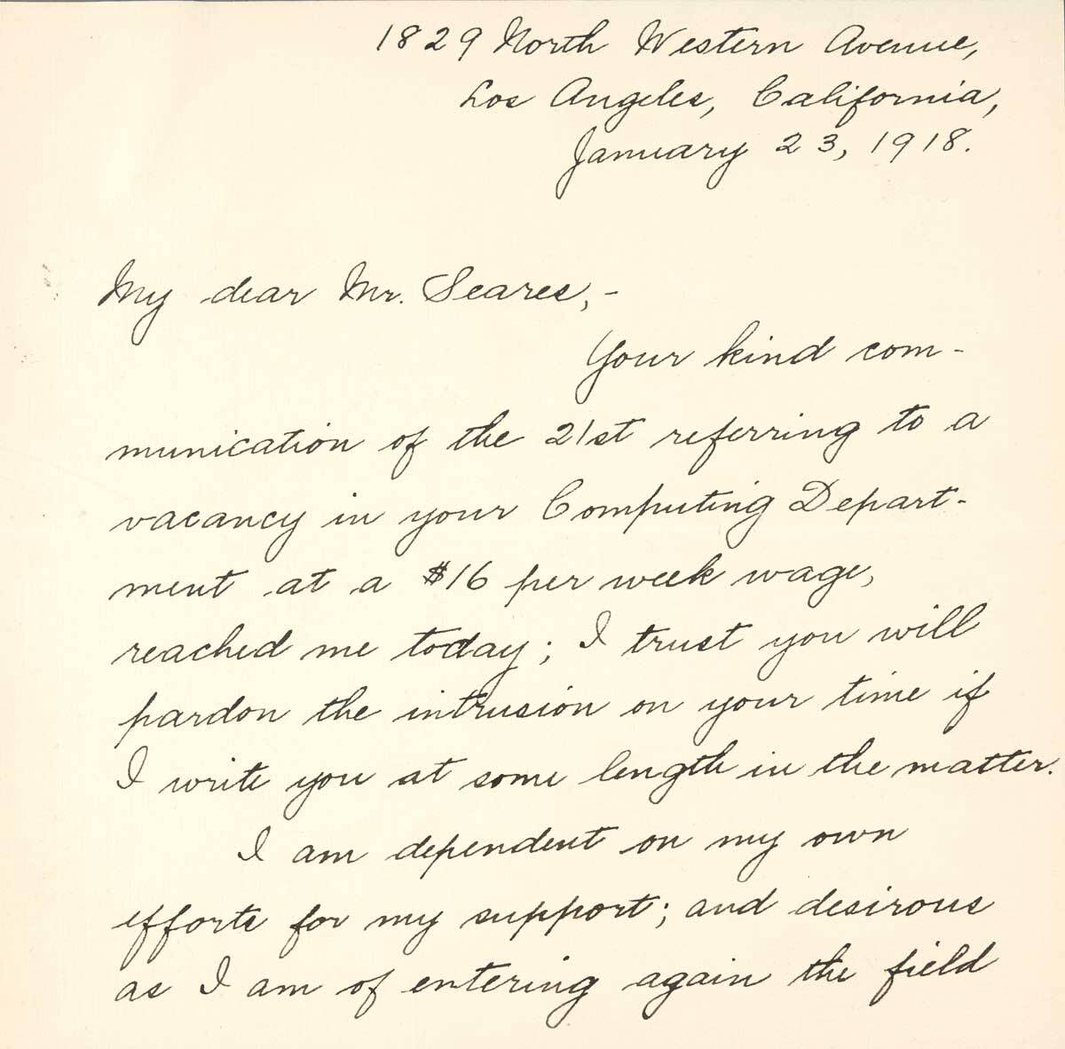 Letter from Betty Trier Berry to F.H. Seares of Mt. Wilson observatory p1 | Image courtesy of the Observatories of the Carnegie Institution for Science Collection at the Huntington Library, San Marino, California