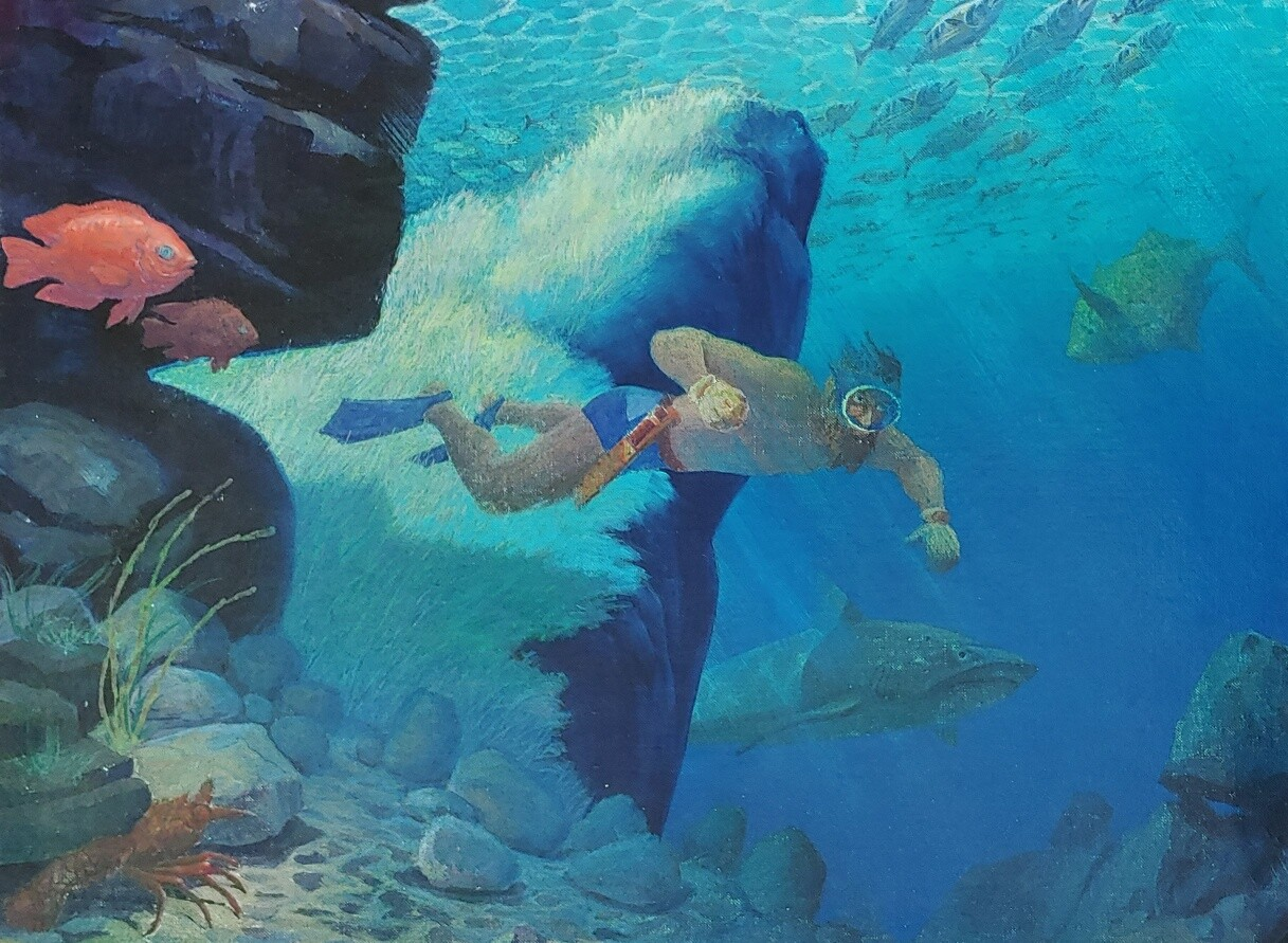 A Jon Gnagy painting depicting an individual skin diving in bright blue water. The individual has a K-Bar knife strapped around their waist.