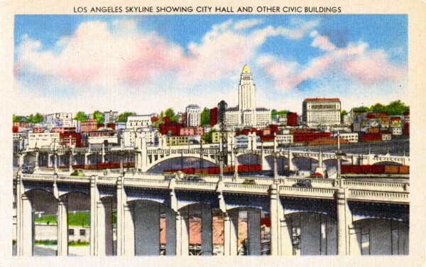 City Hall dominated downtown L.A.'s skyline through the 1960s. Circa 1940 postcard courtesy of the Werner Von Boltenstern Postcard Collection, Department of Archives and Special Collections, Loyola Marymount University Library.