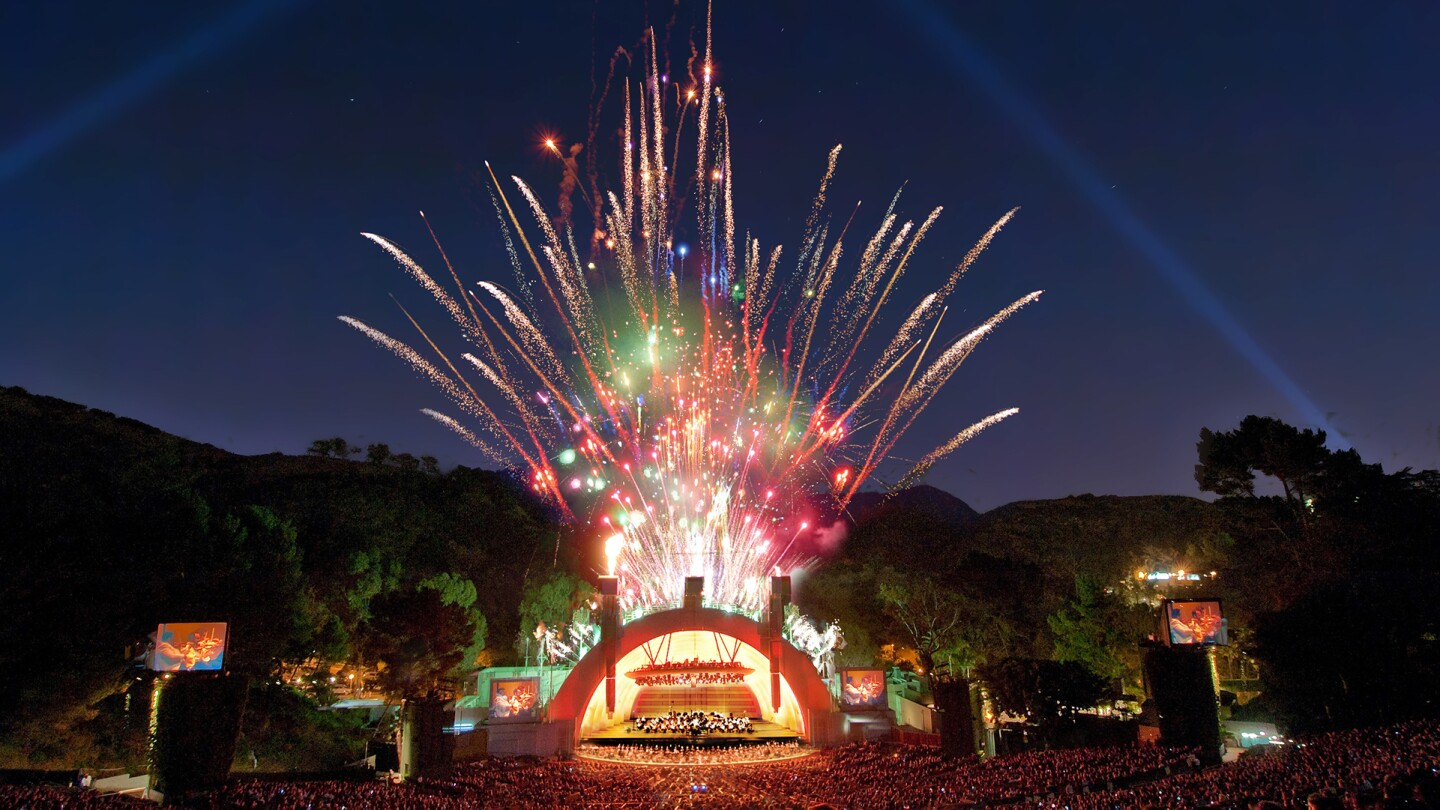 "Hollywood Bowl shell with fireworks. | Adam Latham, Courtesy of the Los Angeles Philharmonic ""In Concert at the Hollywood Bowl"" ep 6 preview thumbnail"