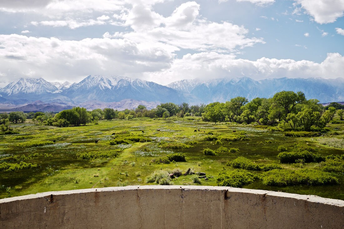 View from Atop Silo ontoNaturally Irrigated Pasture and Snowcapped Sierra Nevada - Bishop, CA -2016   Osceola Refetoff