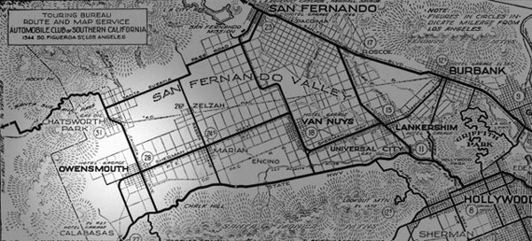 Before there was Canoga Park, there was Owensmouth, born on the barley fields of the San Fermando Valley on March 30, 1912. Detail of a 1917 strip map courtesy of the Automobile Club of Southern California.