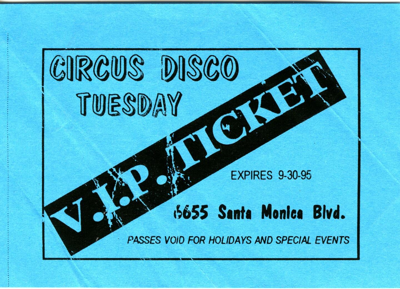 Circus Disco VIP Ticket
