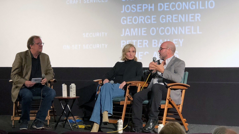 KCET Cinema Series host Pete Hammond with producer Jennifer Fox and writer/director Scott Z. Burns
