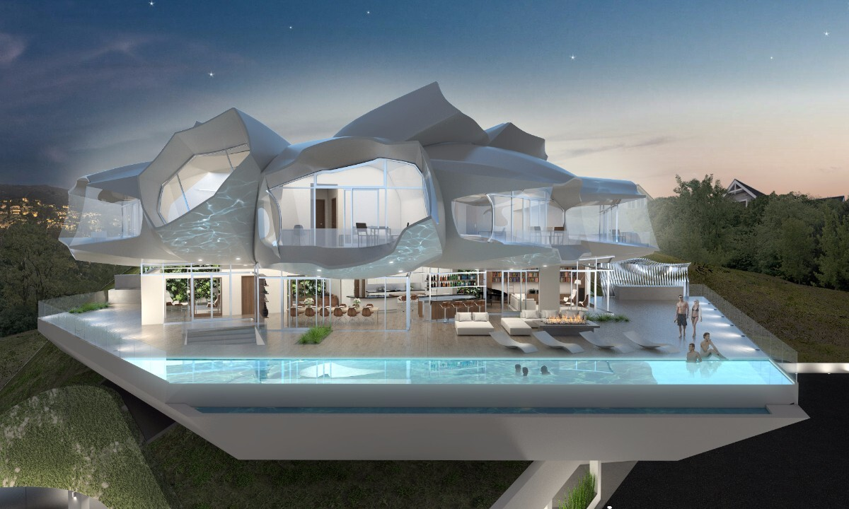 a rendering of Baumgartner and Uriu's Hollywood residential project | Courtesy of BplusU