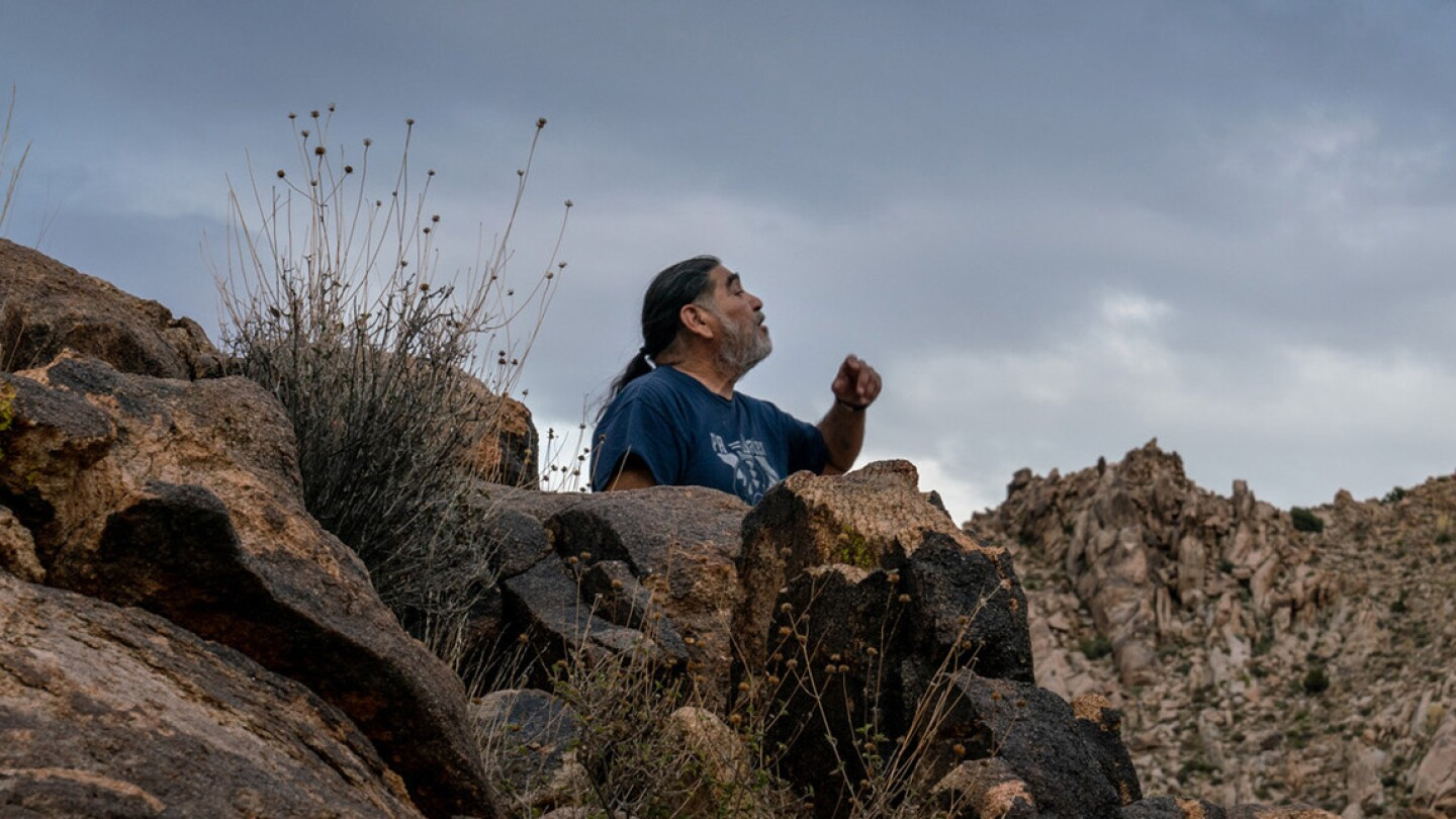 Matt Leivas, Sr. singing at the Old Woman Mountains Preserve photographed by Kim Stringfellow in 2019.