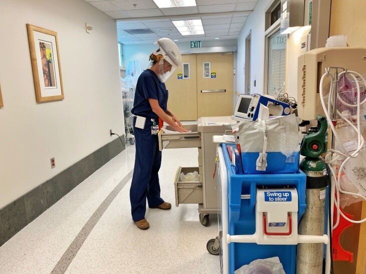 Lindsey Burrell at work in the ICU.   Providence Little Company of Mary Medical Center