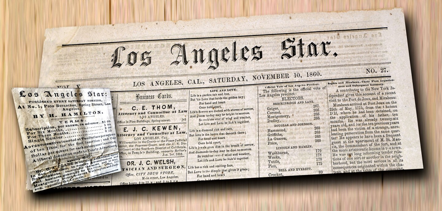 Los Angeles Star. Under the editorship of Henry Hamilton, the Star was the voice of secessionist agitation in Southern California. Montage of images courtesy of USC Digital Library