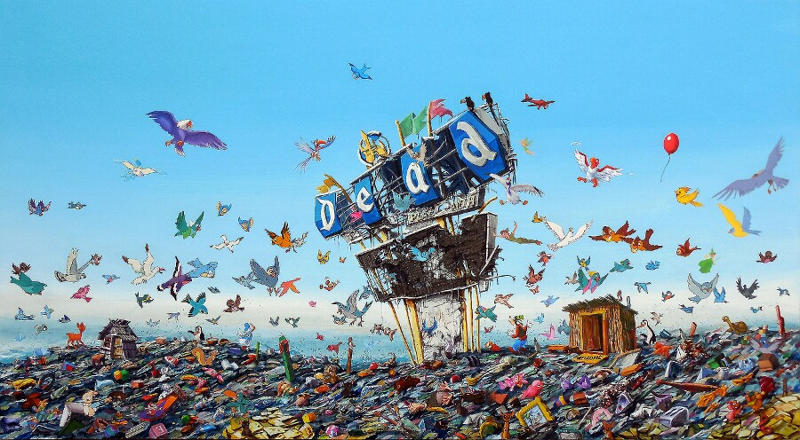 """Jeff Gillette, """"Dead Landfill."""" Acrylic and birds collaged from Disney books. 