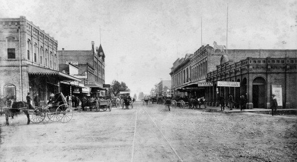Santa Ana, seat of the newly-formed Orange County, in 1889. Courtesy Orange County Archives