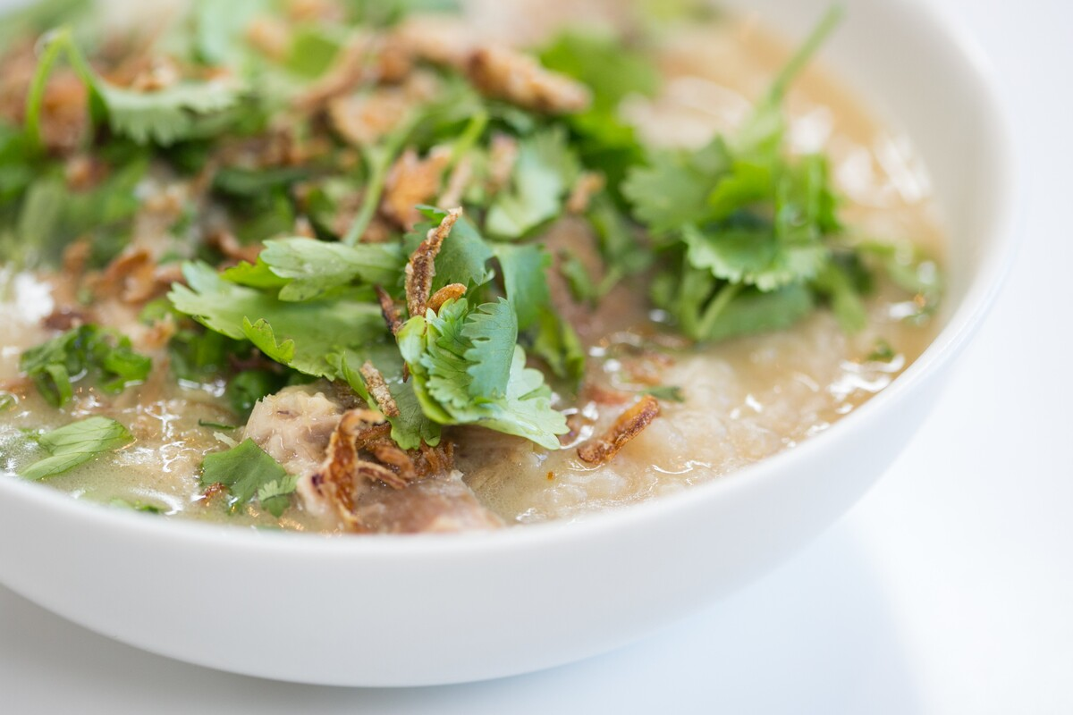Island Congee with Coconut Milk Braised Pork Shoulder by Chef Mei Lin | Carla Choy