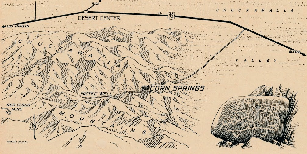 Norton Allen map of Corn Springs, between Indio and Blythe. There was no I-10 at the time the map was drawn. | Courtesy of Ethel Allen