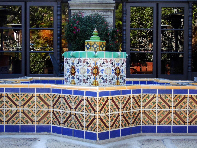The fountain the courtyard of the Geffen Playhouse is made of Malibu Tile. | Sandi Hemmerlein
