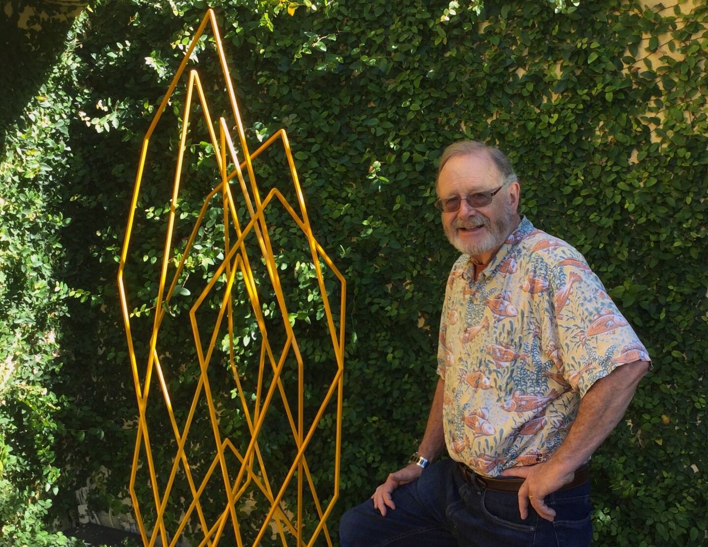 Jim Jacobson with untitled abstract sculpture